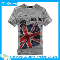 Cheap 80% cotton 20% polyester t shirt with UK flag in rubber printing