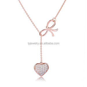 Wholesale heart&bow-knot pendant necklace set with adjustable cz necklace long chain real 925 sterling silver necklace