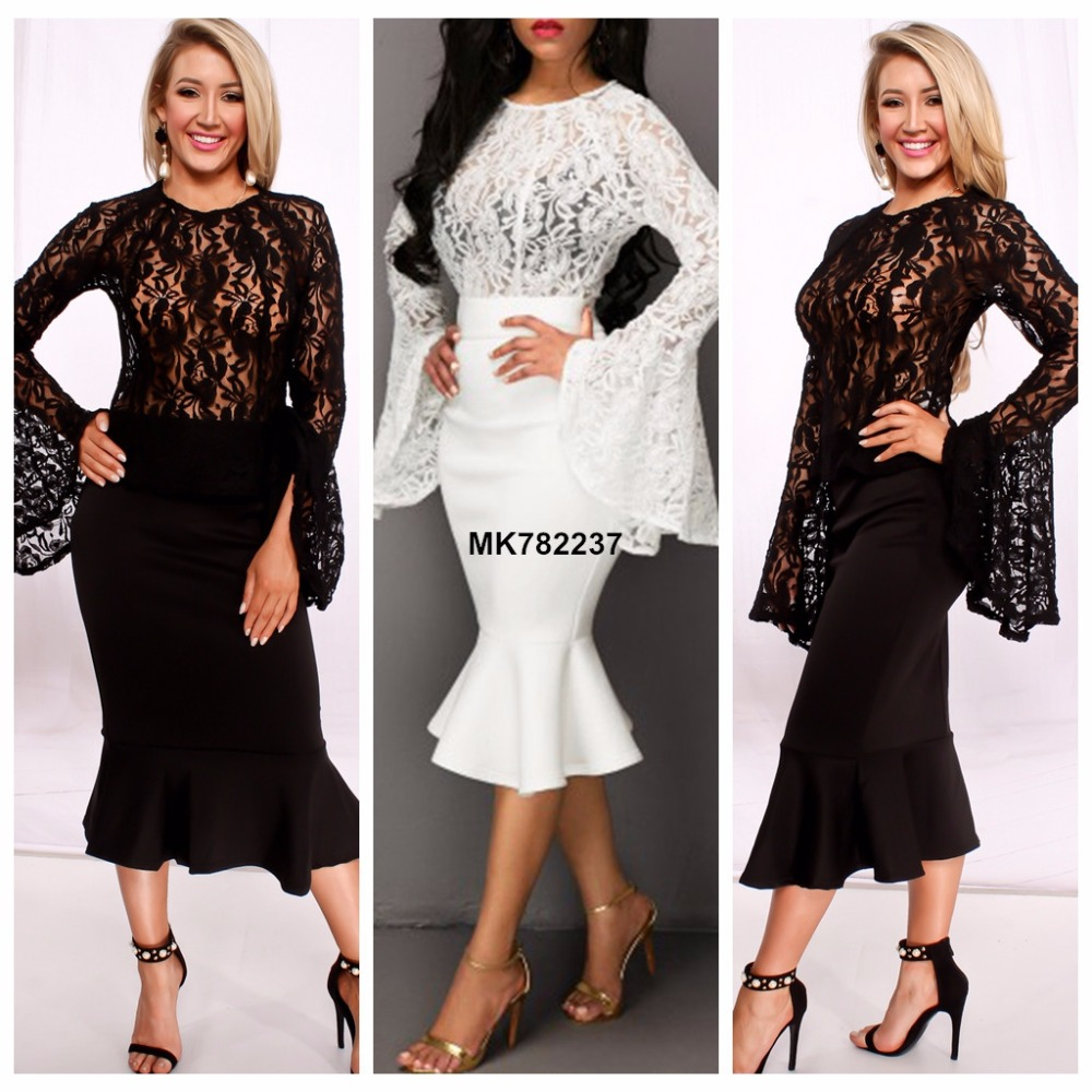 Hot sale women long flare sleeve sexy lace dress