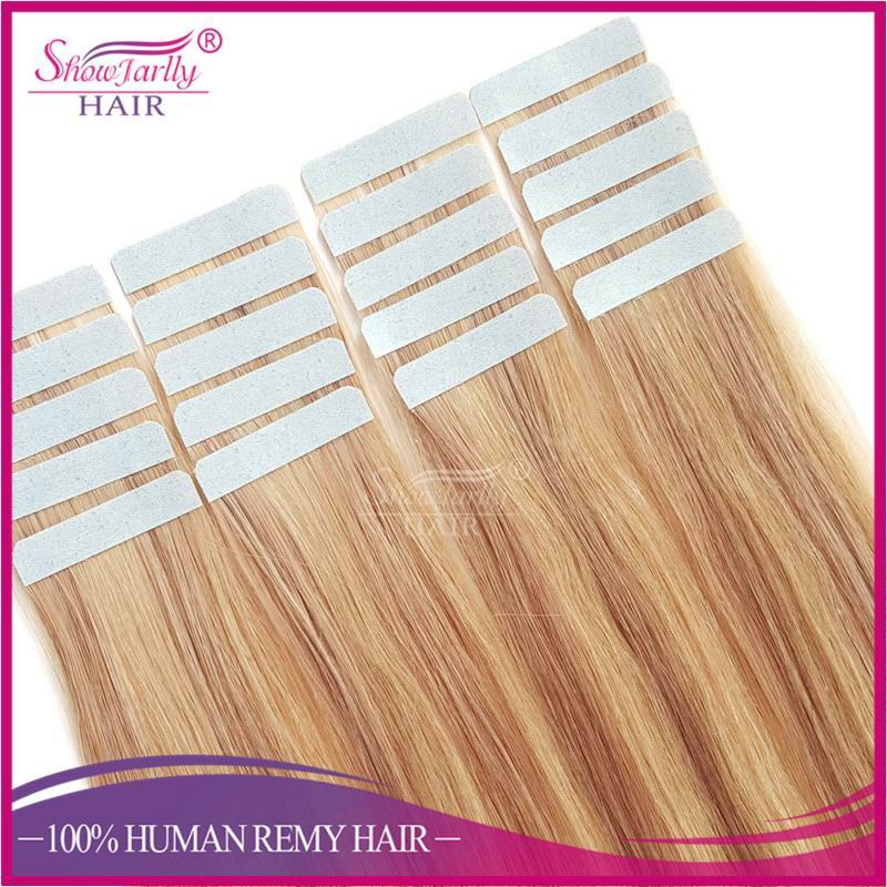 Wholesale hair bundle hand tied 26 inches russian tape in human hair extension highlight tape hair extensions