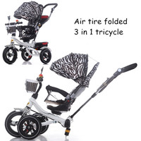 new arrival all kinds of kids folding tricycle carbon steel baby folding tricycle 3 in 1 foldable tricycle