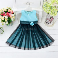 Latest chiffon design knee length plain sleeves girl dresses kids