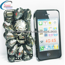 Factory price Hot diamond crystal skull case for iphone 4