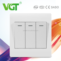 Hot selling Made In China Alibaba Suppliers Wall Switches Of 3 gang 1 way white light switch