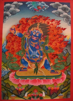 Vajrapani thangka - God of Rain Lord Vajrapani Thangka Tibetan Nepal painting