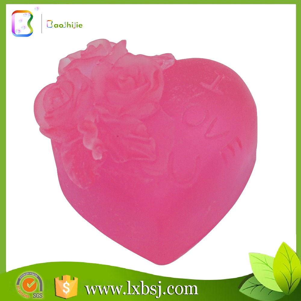 50g Love shape carved rose oil natural hand soap for gift