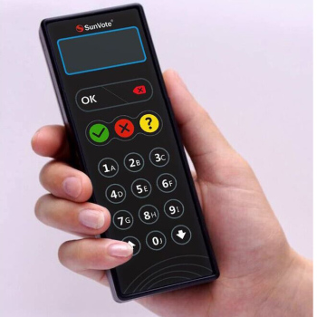 Voting keypad for shareholder meeting