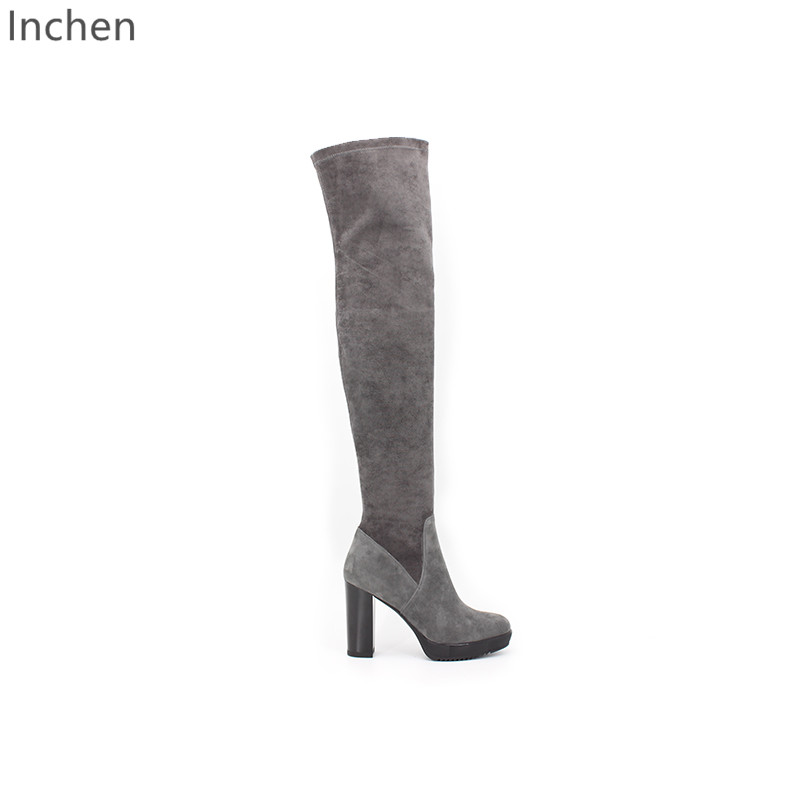 sexy high heeled over the knee boots genuine sheepskin chamois leather thin line
