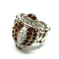 Wholesale Sports Jewelry Football Small Charm Rhinestone Stretch Ring