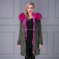 Fashion Casual Women Hot Pink Fox Fur Lining Coat Long Jacket Winter Overcoat Warm Parka Lady Raccoon Fur Hooded