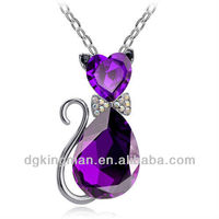 Factory Price Jewelry 2013 New Fashion Diamond Silver Cat Necklace