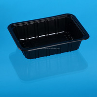 Black Disposable PET Plastic meat, fish and food tray