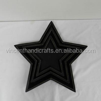 Antique distressed star shape black wood plates for home decoration