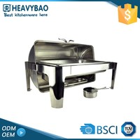 Heavybao Superior Quality Stainless Steel Buffet Equipment Roll Top Chafer Roll Over Cover Chafing Dish