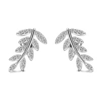 Leaf Stud Jacket Earrings Vintage Jewelry,Solid White Natural Diamond Pave Ear Jacket for women, Silver Ear Jacket