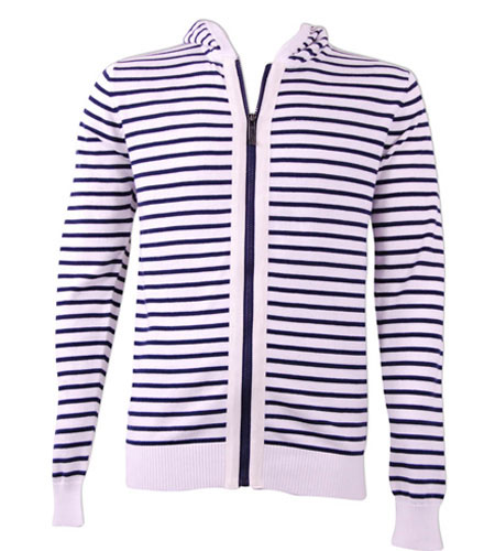 Front Zip Stripe Sweater