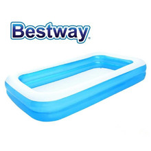 Bestway 305 x 183 x 46cm double rings inflatable plastic blue rectangular family swimming pool