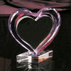 Pink heart Trophy design crystal glass award with clear base