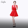 Caijia Shiny Half Sleeve Transparent Short Dress Hollow Out Back Ruched Chaozhou Red Cocktail Dress Party Dress
