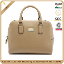 Guangzhou factory genuine pebble leather handbags fashion lady tote bag with custom logo