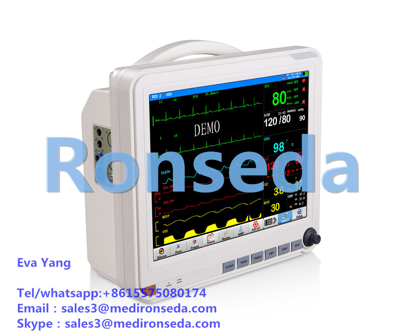 LCD display High quality Patient Monitor 15 Inch with 3 levels of alarm