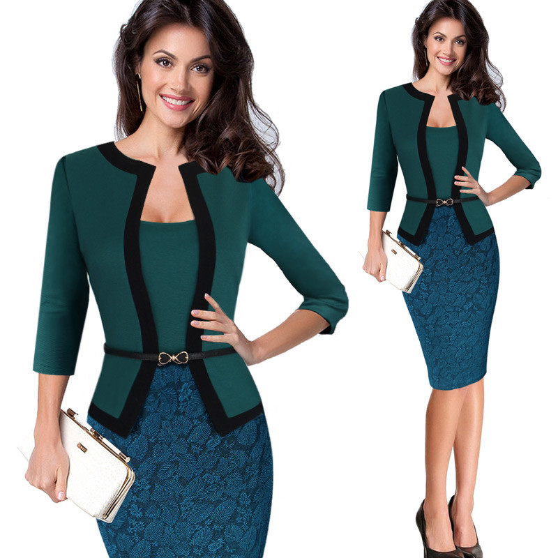 New fashion work office lady cotton long sleeve formal pencil dress