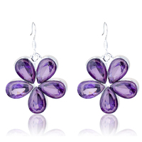 Fashion Crystal Flower Short Pendant Earrings Five Leaves Floral Dangly Earring Ear Jewelry Accessory For Lady