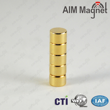 Gold coating D8x2mm neodymium magnets for electronic cigarette