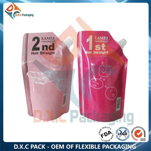 Custom Printed Hotel Hair Protein Treatment Pouch Bag With Spout