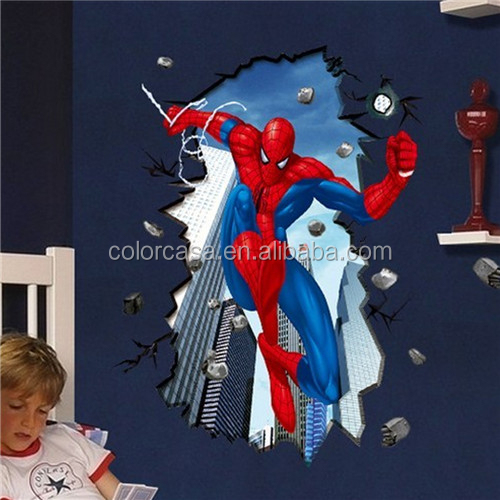 Colorcasa wall sticker design wall sticker 3d Spiderman for boys room (PB8003)