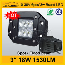 High quality led work light 1530LM 18W 12v 4wd accessory