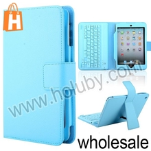 Pure Color Lichee Texture PU Leather Case +Wireless Bluetooth Keyboard for iPad Mini Keyboard Case With Bracket