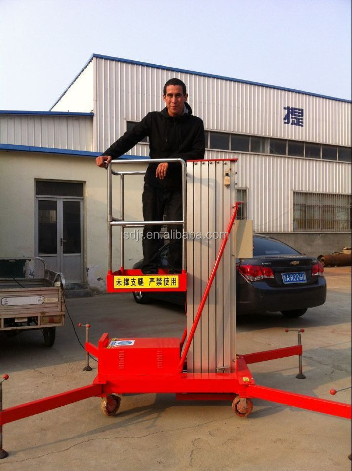 Factory directly single mast aluminum lift aerail working platform lift