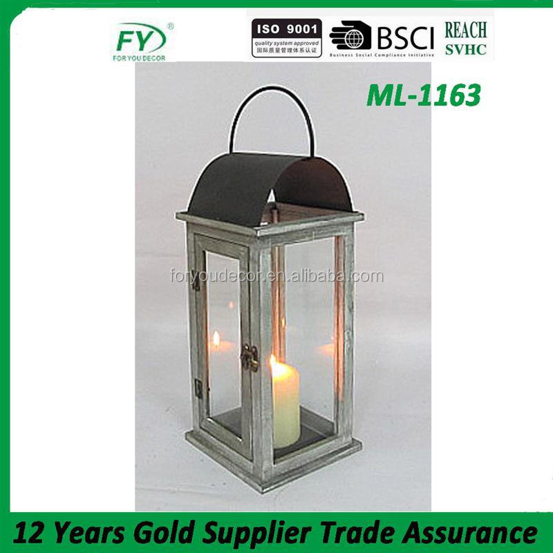ML-1163 Excellent quality terracotta decorations wood chinese lantern with metal top.
