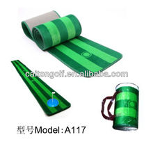 Golf putter and hitting mat , practice mat hot sale golf wooden putter trainer/new golf puting mat