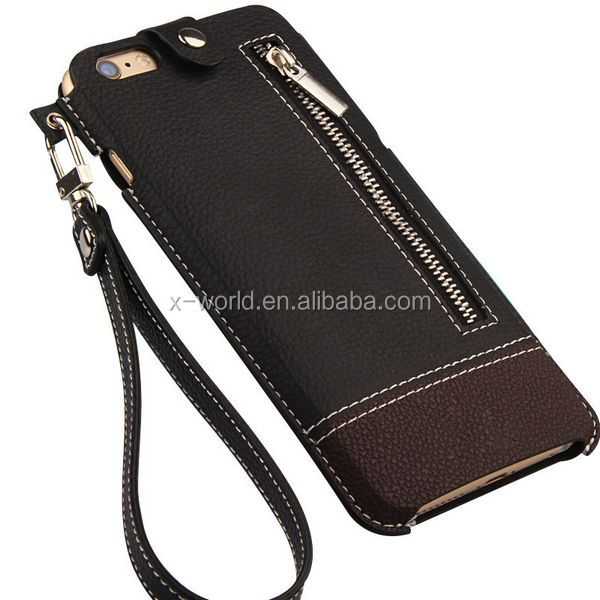 Hand Strap Zipper Card Slot Protective handbag Leather Phone Case with wrist strap for iPhone 6