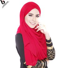 Wholesale Muslim Sexy Women Arab Scarf Printed Solid Jersey Long Hijab