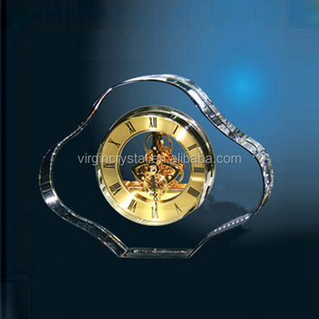 Wholesale crystal mechanical desk clock for business gift