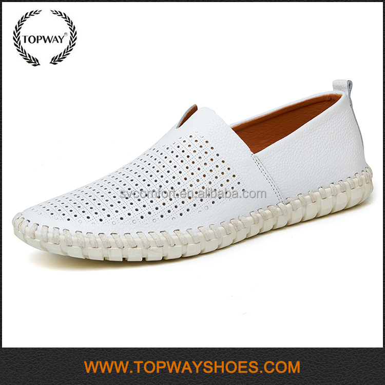 2017 Wholesale breathable holes loafers stock bulk hand made leather shoes