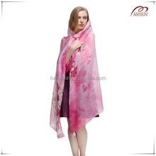 Light pink high quality novel design silk chiffon scarf
