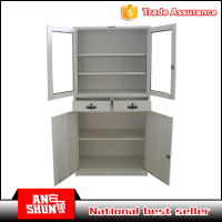 Full assembled wholesale price 2 drawer glass door display foldable iron storage cupboard