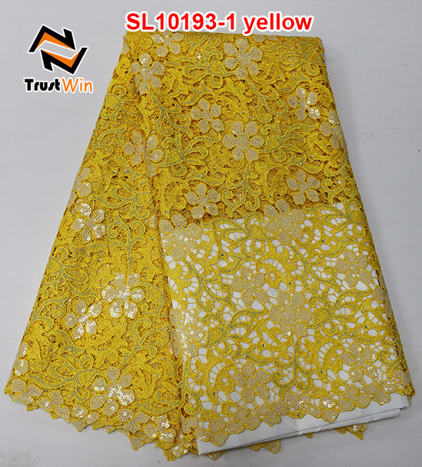 yellow african lace fabrics cord pearls sequin beaded lace fabric sl10193