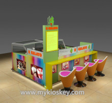 Colorful 3d ice cream kiosk design with bar counter for sale