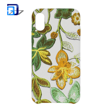 2017 new arrivals pu leather cell phone cover 3D flower embroidery phone case for iphone 8