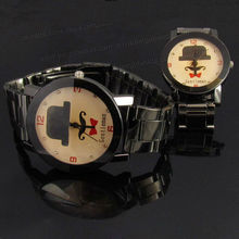 Suit Tie Mustache Fashion MK Style Black Metal Couple Watch