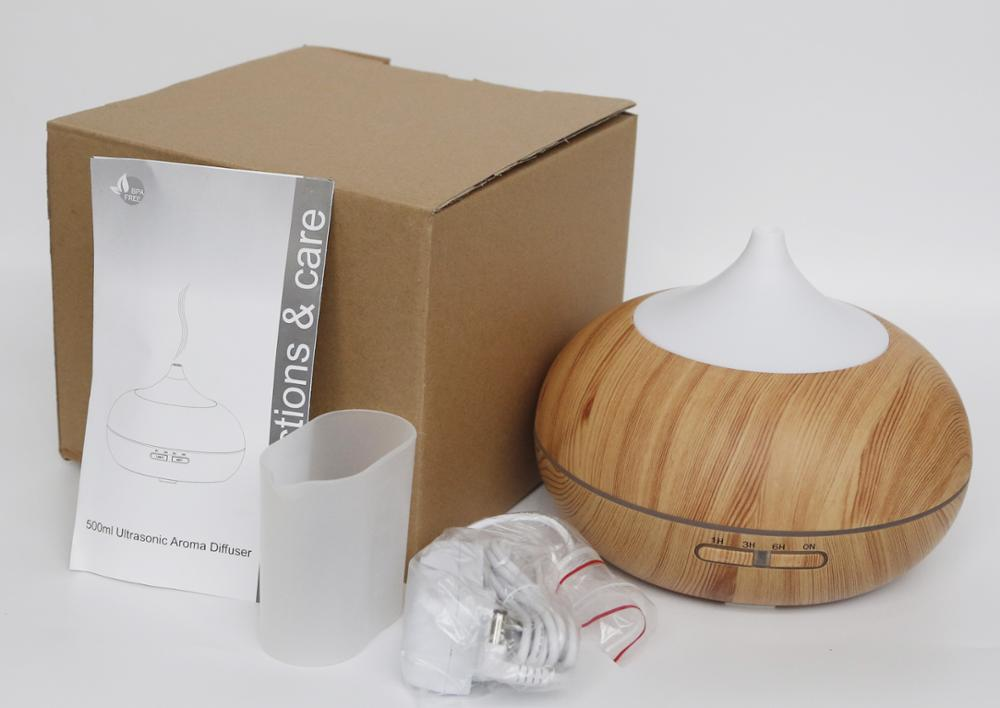 High quality 500ml Amazon hot sale ultrasonic wood grain essential oil diffuser Aroma Diffuser