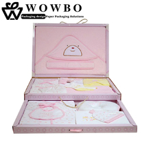 Pink baby clothes packaging gift box with 2 drawers