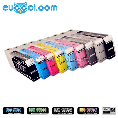Most sold T6361-T6369 refillable ink cartridge with chip for Epson LFP refillable ink cartridge for Epson Stylus Pro 7890 9890