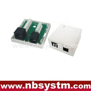 2 ports Surface Box UTP Cat6 RJ45 + RJ11 PCB jack