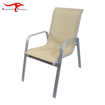 Outdoor Steel Frame High Back Garden Chair Stackable Sling Fabric Dining Chair
